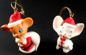 Set-of-2-Vintage-MICE-Santa-Mouse-Present-Mouse-Christmas-Ornaments-Pair