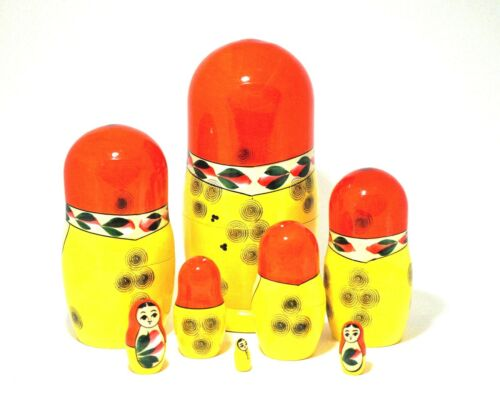 "7 Piece Matreshka Semenovskaya Russian Nesting Doll 8/"" Tall Handpainted"