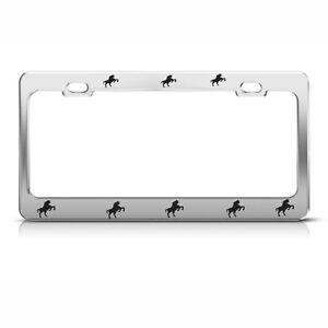 Image is loading STANDING-HORSES-Chrome-HEAVY-DUTY-Metal-License-Plate-  sc 1 st  eBay & STANDING HORSES Chrome HEAVY DUTY Metal License Plate Frame Holder ...