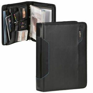 Alassio-Business-Konferenzmappe-A4-Schreibmappe-schwarz-mit-Griff-und-Tabletfach