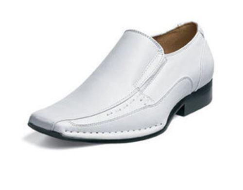 Stacy Adams TEMPLIN TEMPLIN Adams Mens White Leather Slip On Dress Shoes 83c127