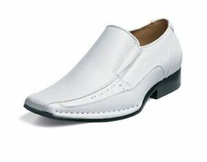 Stacy Adams TEMPLIN Mens White Leather Slip On Dress Shoes | eBay