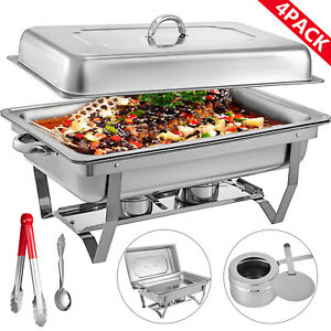 4-Pack-Catering-Stainless-Steel-Chafer-Chafing-Dish-Sets-9Qt-Buffet-Pans