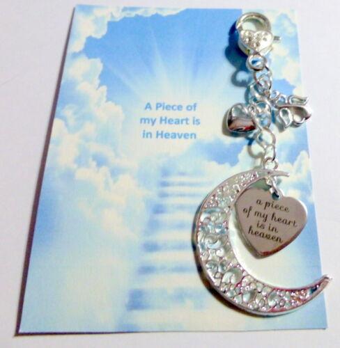 Un morceau de mon cœur est au ciel Memorial Souvenir Cadeau Lune Ange /& Coeur