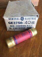 General Electric New Old Stock One Time Fuse 250 Volts 40 Amp Box Of 10 Ge3750