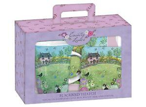 Blackbird-Thatch-Cottage-Black-amp-White-Cat-Teatime-Gift-Set-Mug-Coaster-amp-Tray