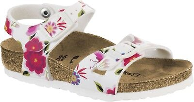 Birkenstock Rio Kids China Flowers White Sandal Size 24 31 Narrow Footbed | eBay