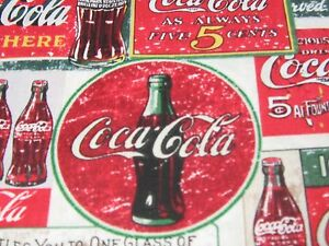 """VINTAGE COKE-COLA SIGNS"" BY SYKEL ,100% Cotton Fabric, by the Yard."