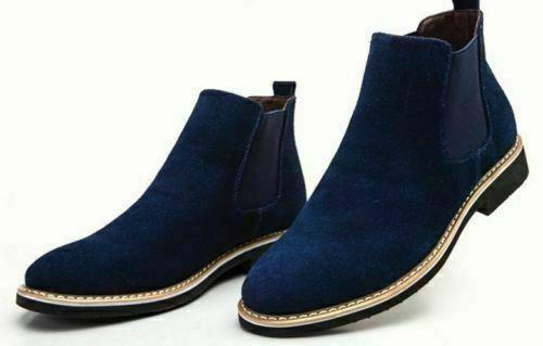 botas para hombre hecho a mano Original Azul Oscuro De Ante Chelsea Formal Informal Zapatos Todas Las Tallas