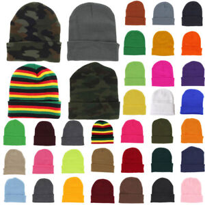 Cuff-Plain-Beanie-Knit-Ski-Cap-Slouchy-Skull-Hat-Warm-Solid-Color-Winter-Blank