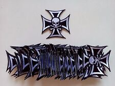 "50 Skull in Cross Biker Embroidered Patches 3""x3"""