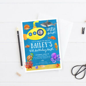 Image Is Loading Printable Birthday Invitation Under The Sea Ocean Submarine