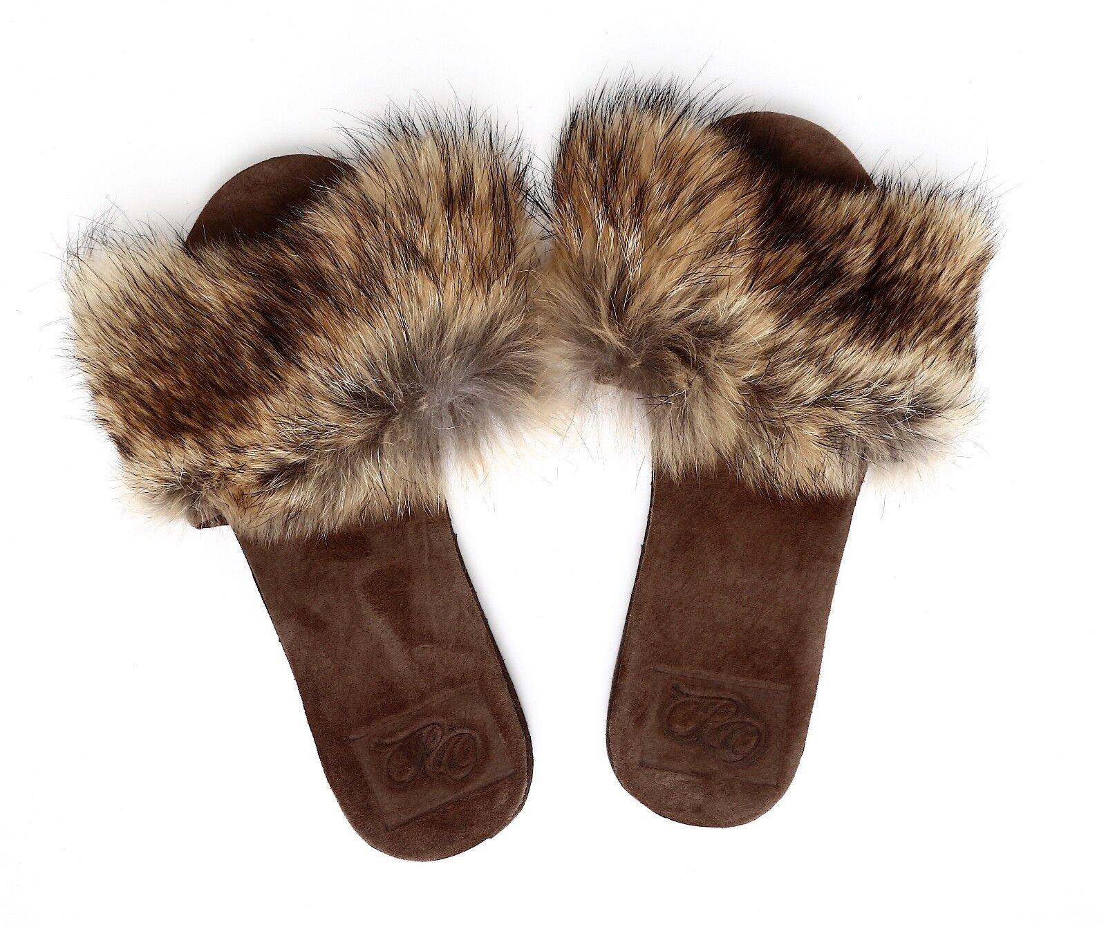 Rhonda Ochs Women's Brown Real Fur Slides Sz 7 7158