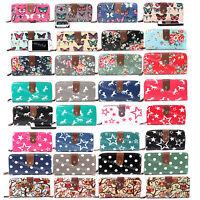 Designer Oilcloth Butterfly Owl Flower Polka Dots Folded Zip Wallet Purse Bag