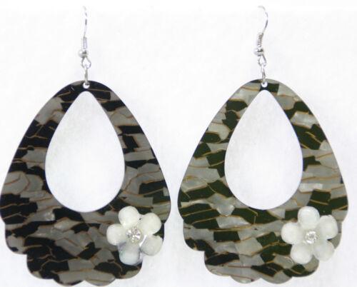 Dangle Drop Earrings Mosaic Pearlized Lucite Door Knocker Ovals Black Gray