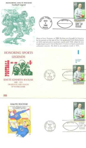 Honouring Knute Kenneth Rockne 18881931, American Football FDC x 3 1988
