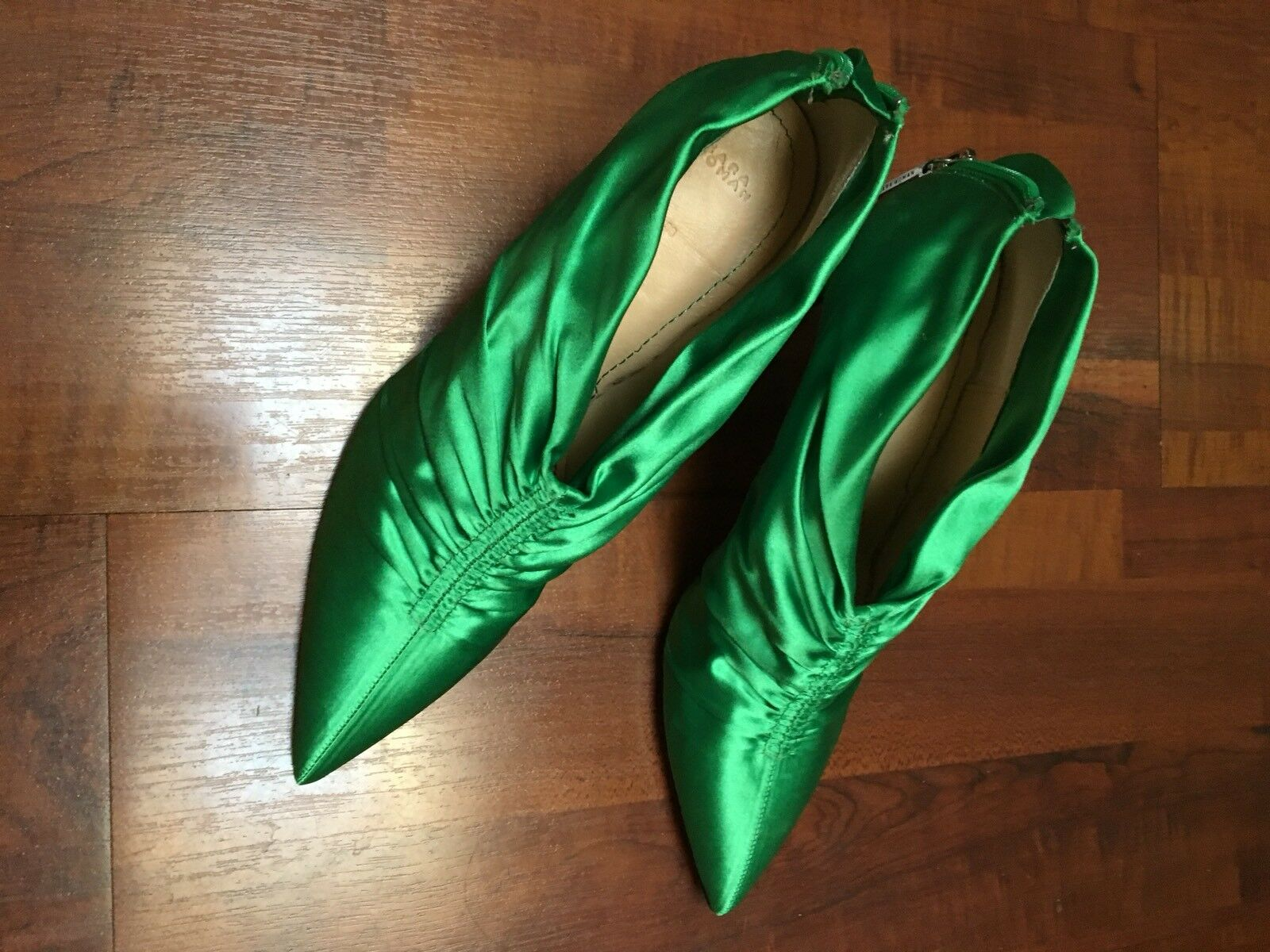 Ankle boots zara emerald green satin-t. 38 new