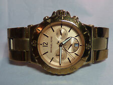 $275 MICHAEL KORS LADIES 43MM DYLAN ROSE GOLD BRACELET CHRONOGRAPH WATCH MK5314