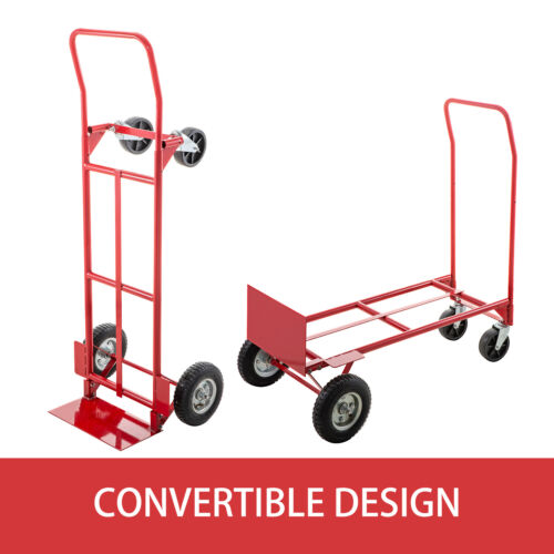 Hand Truck Convertible Dolly 200lb//300lb with 8inch Pneumatic Wheels in Red