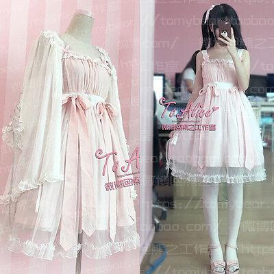 Sweet Lolita Harajuku Grenadine Vintage Suspender Nightdress Gothic Kawaii#T25