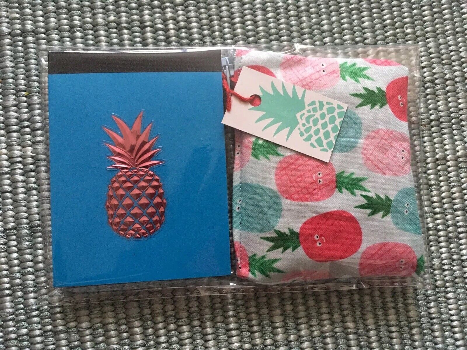 Funky Retro Kitsch Blue & Red 🍍Pineapple Notebook + Purse 2pc Gift Set