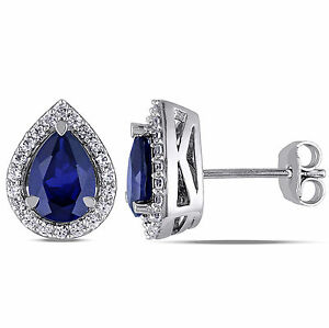 Amour Sterling Silver Created Blue and White Sapphire Stud Earrings