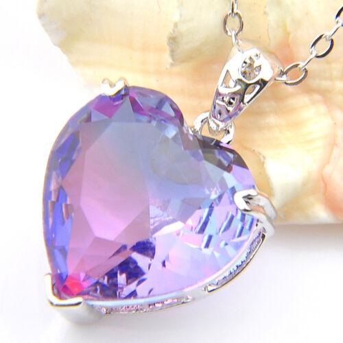 Mystical Purple Bi Colored Tourmaline Gemst Love Heart Silver Pendant Necklace
