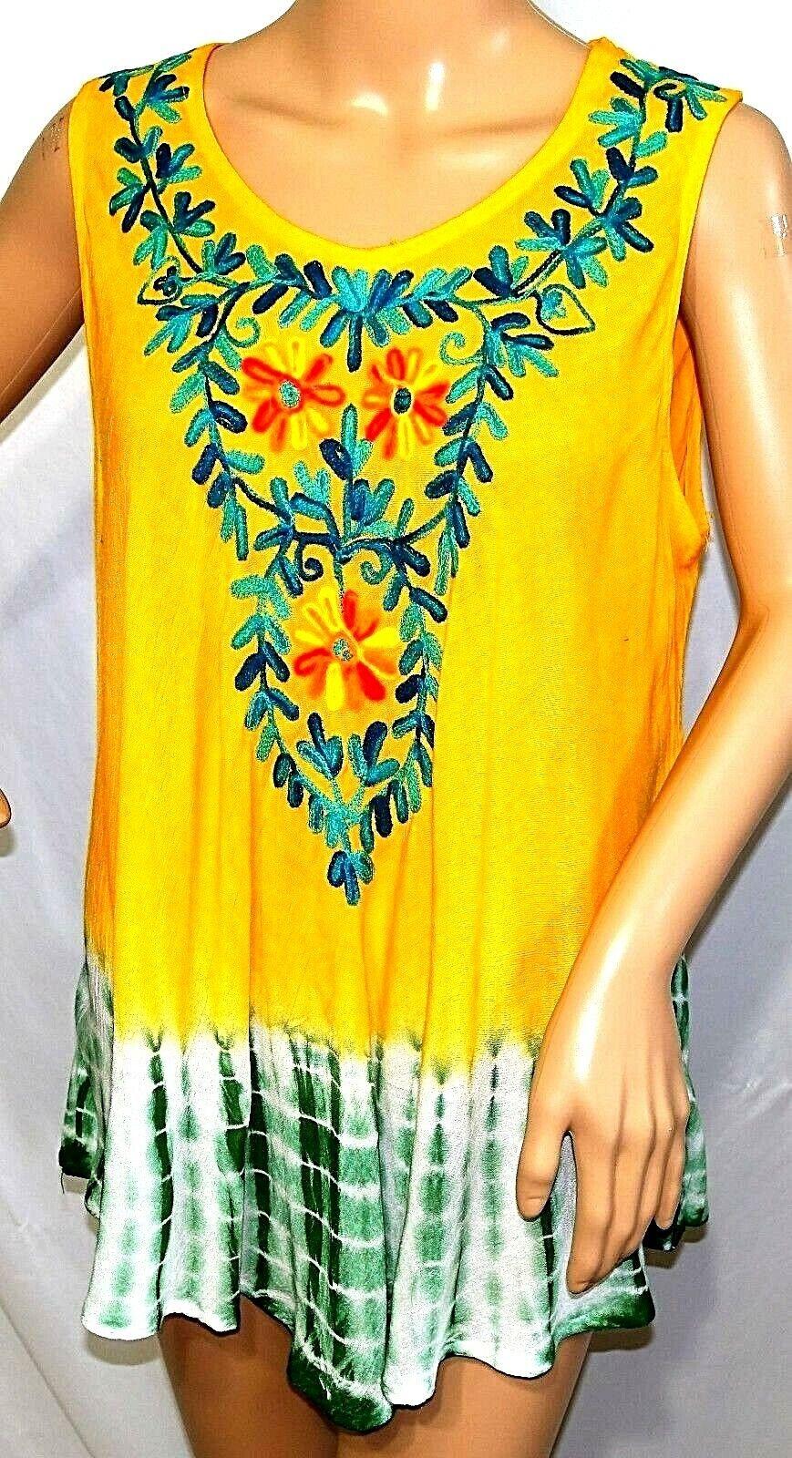 Ana /& Kate Women Plus Size 2x Coral Turquoise Tie Dye Swing Tank Top Blouse Boho