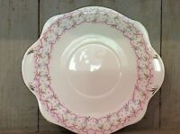 "STEVENSON SPENCER Bone China 9.5"" CAKE / Sandwich  PLATE c1951 Pink Handpainted"