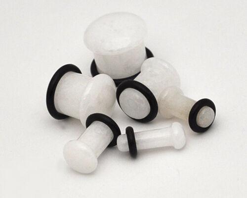 Pair of SINGLE FLARE White Jade Stone Plugs organic gauges PICK SIZE