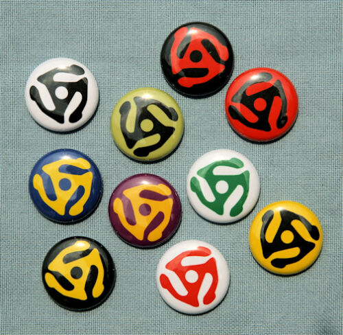"10 RECORD ADAPTER Buttons Pins Badges 1/"" LP 45 Retro"