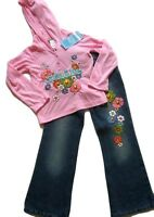 Girl Boutique Little Mass Pink Smile Hoody Flower Jeans Pants Set Size 5/6