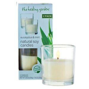 The Healing Garden Eucalyptus Mint Natural Soy Candles 2pk Ebay