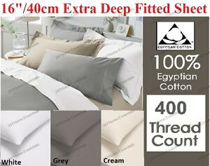 400-Thread-Count-100-Egyption-Cotton-Extra-Deep-Fitted-Flat-Sheets-Pillow-Case
