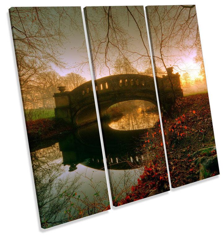 Puente Paisaje De Otoño Paisaje Puente TREBLE LONA pared arte Foto impresión Cuadrado 13c14a