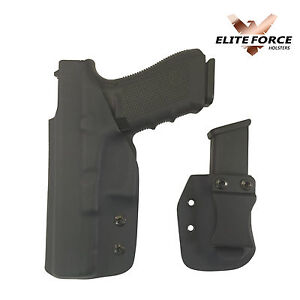 Details about Fits Glock Black IWB Kydex Holster and Magazine Combo by  Elite Force Holsters