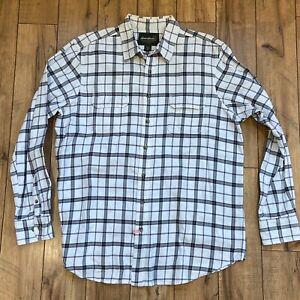 Eddie-Bauer-Men-039-s-Flannel-Shirt-Size-XLT-XL-Tall-Classic-Fit-Plaid-White-Gray