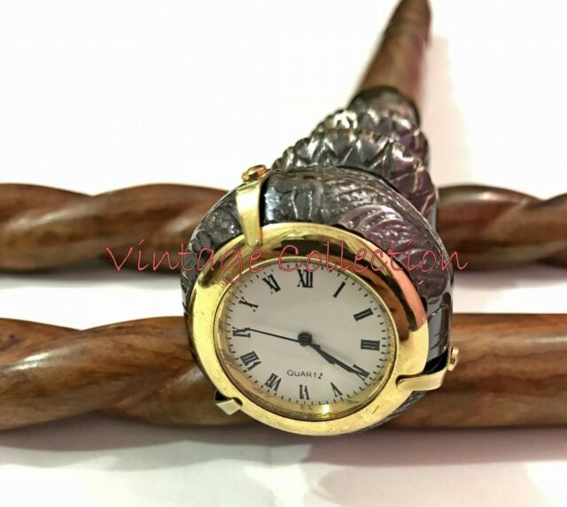 Antique Wooden Brass Twist Handle Walking Stick Cane with Beautiful Clock on Top
