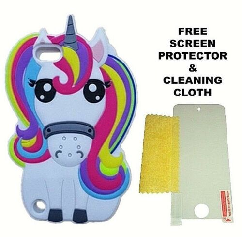 3D Cartoon Rainbow Unicorn Soft Silicone Case For Apple iPod Touch 5 6 /& 7 Gen