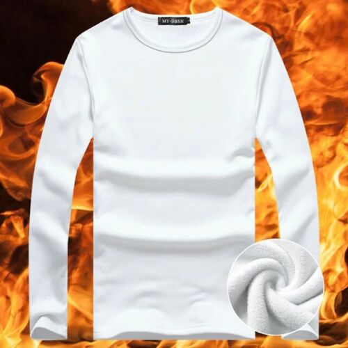 Mens T-Shirt Warm Long Sleeve Autumn Winter Thermal Shirt Thick Velvet