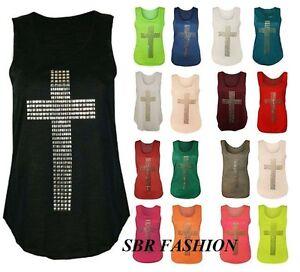 Pour-Femme-Femmes-Gothique-Clou-Cross-Dos-Nageur-Sans-Manche-Extensible-T-Shirt