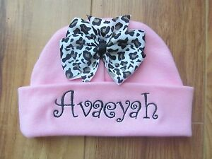 6337fa66c Details about PERSONALIZED MONOGRAM CUSTOM Baby Newborn Hospital Hat Beanie  Pink Leopard Bow