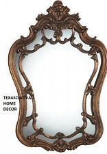 OLD WORLD FRENCH ORNATE ARCHED ANTIQUE BRONZE GOLD WALL MIRROR BATHROOM VANITY