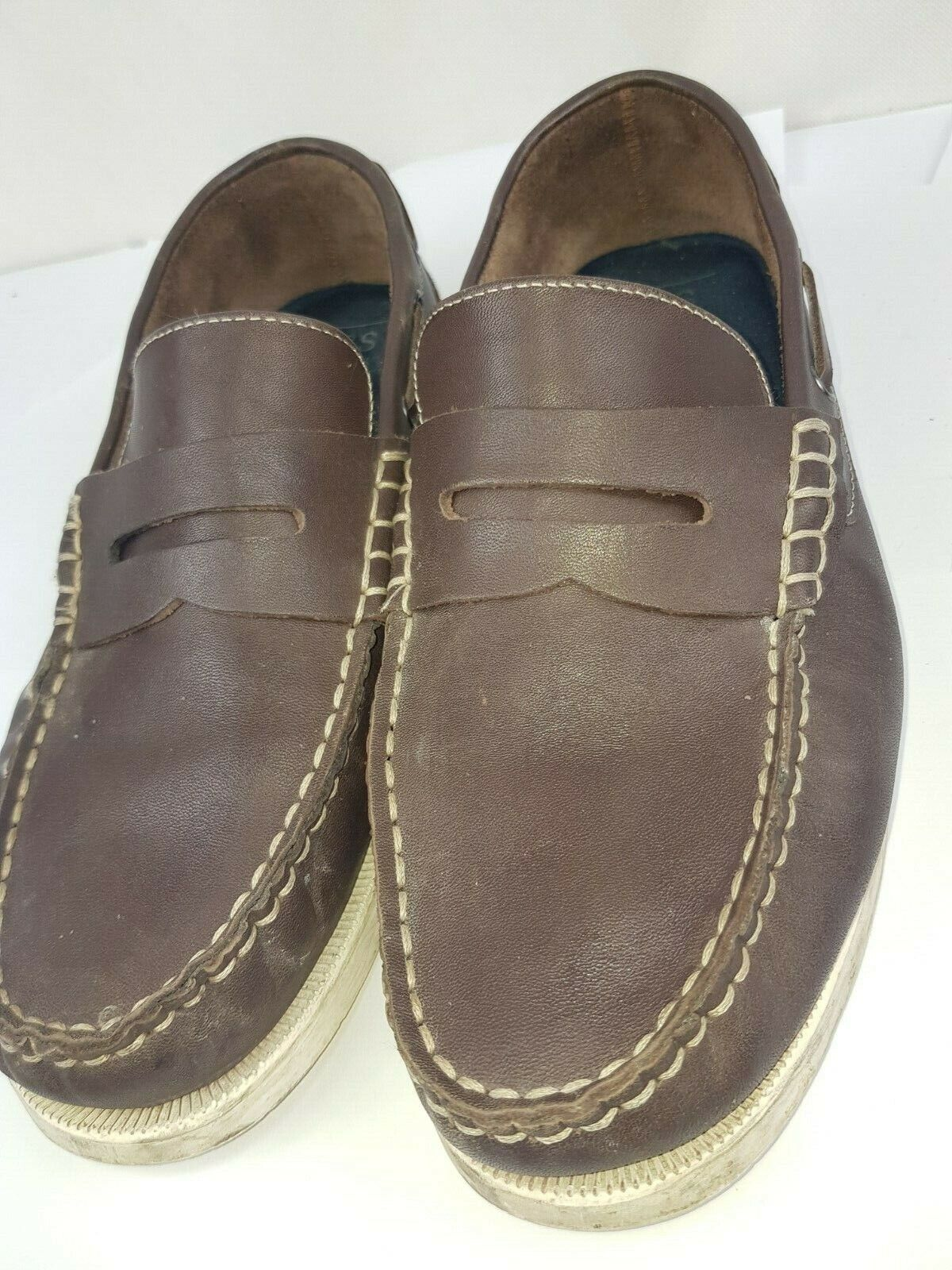M&S Collection Brown Leather Slip On Boat Deck shoes UK 9.5 - Pre-worn