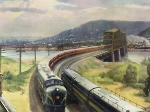 1953-PENNSYLVANIA-RAILROAD-CROSSROADS-OF-COMMERCE-POSTER-GRIF-TEELER-NICE-SHAPE
