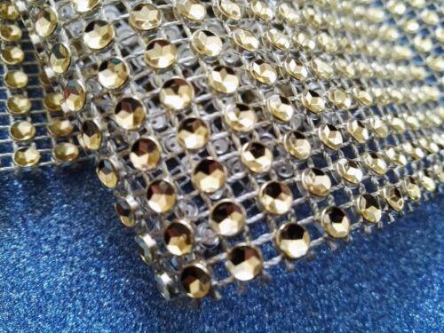 GOLD Diamante Rhinestone Sparkling Diamond Effect Wedding Cake Trim Ribbon mesh