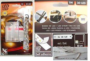 LED-Strip-Leiste-1m-warm-weiss-30-LED-Selbstklebend-flexibel-Batteriebetrieben
