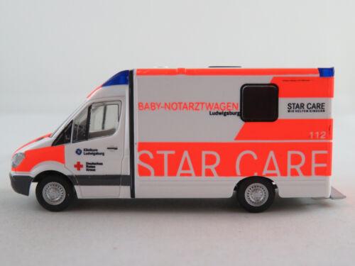 """Rietze 61739 System Strobel RTW MB Sprinter /""""DRK Ludwigsburg//Baby-NAW/"""" 1:87//H0"""