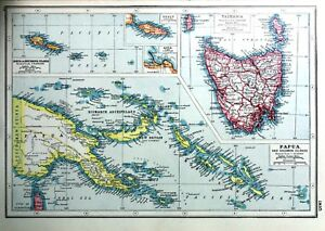 Details about Vintage Antique Original 1920 Map Print Of Papua And Solomon  Islands Tasmania