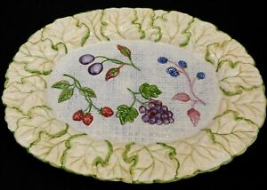 Oval Serving Platter 18 1/2 inch Unbranded Embossed Leaf Border with Berries